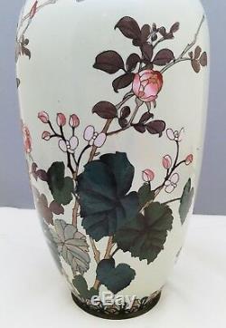 Japanese Meiji Silver Wire-Wireless Cloisonne Vase with a Bird