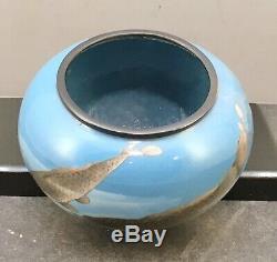 Japanese Meiji Silver Wire- Wireless Shakudo Cloisonne Bowl by Gonda