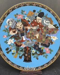 Japanese Meiji Tokyo School Gold Wire Cloisonne Charger With Noh-theater Actors