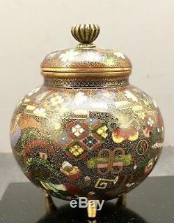 Japanese Meiji attributed to Namikawa Yasuyuki Cloisonne Jar with Gilded Wire