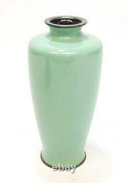 Japanese Mint Green Floral Cloisonne Vase, 1st Half 20th Century