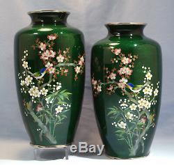 Japanese Pair of Green Inaba Cloisonne Enamel Vases Bamboo Sakura Birds Design