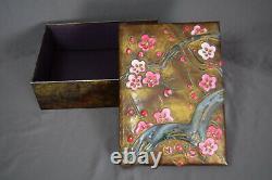 Japanese Raised Enamels Over Bare Copper Cloisonné Box Plum Tree in Blossom 175