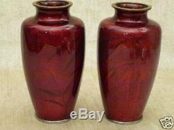 Japanese Red akasuke Pigeon Blood Ginbari Cloisonne enameled Vase Bamboo & Bird