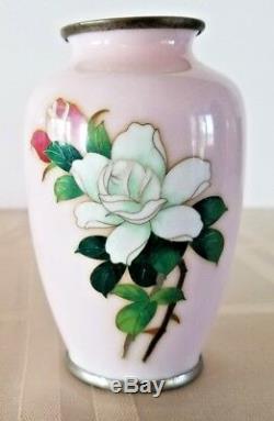 Japanese Sato Cloisonne Miniature 3.75 Vase Pink Roses Signed Base