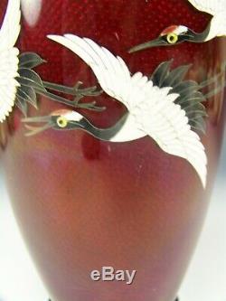 Japanese Sato Style Cloisonné Flying Crane Bird Red Piegon Blood 7.25 Vase