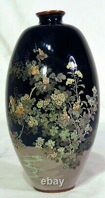 Japanese Silver Wire Cloisonné Meiji Vase Black Flowers Stream Wireless