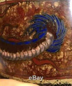 Japanese Silver Wire Cloisonné Vase 3 Panel Dragon, Butterflies Birds 6.25