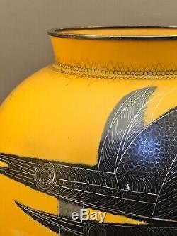 Japanese Taisho Art Deco Style Yellow Cloisonné Vase
