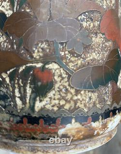 Japanese Totai Bud Vase Birds Blossom Tree Bark Cloisonne Porcelain Japan