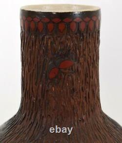 Japanese Totai Shippo Cloisonne on Ceramic Vase Tree Bark Bird Flowers Meiji 19C