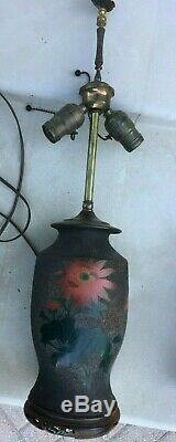 Japanese Tree bark cloisonne lamp. Antique. Carved stone finial
