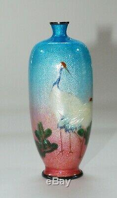 Japanese Tsuiki Shippo Vase of Cranes by Kawaguchi Please Read Description