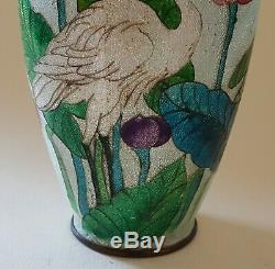 Japanese blue cloisonné vintage Victorian Meiji period oriental antique vase A