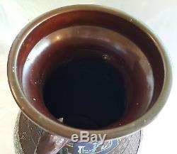Japanese bronze champleve vintage Victorian oriental antique urn vase
