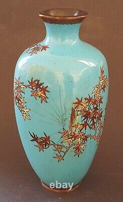 Japanese cloisonné vintage Victorian Meiji Period oriental antique bird vase