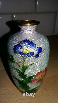 Japanese miniature Ginbari Cloisonne vase on brass signed just beautiful