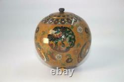 Japanese shippo cloisonne incense burner Meiji Period Lion SVG07