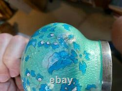 Korean Cloisonne VASE Hallmarked 99% SILVER MOUNTS 8.75 Blue & Turquoise