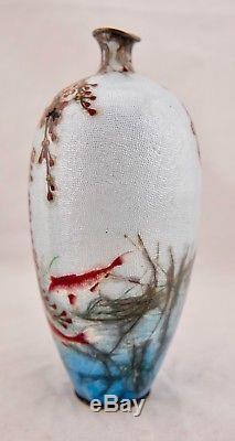 Kumeno Teitaro Meiji Japanese Ginbari Cloisonne solid silver Koi Fish scene vase