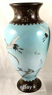 LARGE PAIR OF 19th CENTURY JAPANESE MEIJI PERIOD CLOISONNE VASES 31cm HIGH