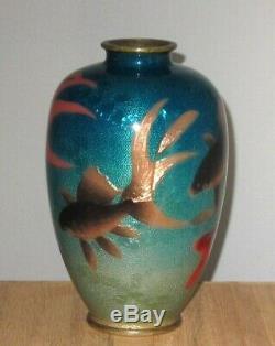 LARGE VERY RARE OGASAWARA SHUZO Signed Meiji Japanese Ginbari Cloisonne Vase