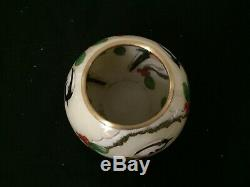 LOVELY JAPANESE CLOISONNE 3 BIRDS WITH FLOWER VASE with BRONZE RIMS