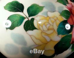 Large 10 3/8 In. Tall Vintage Japanese Cloisonne Enamel Vase Roses Flowers Japan