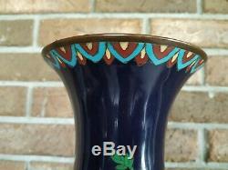 Large Antique Japanese Cloisonne blue Enamel Chrysanthemum Flowers Vase. 24
