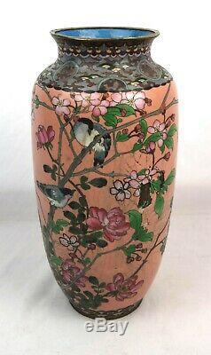 Large Antique Japanese Meiji Cloisonne Vase Birds and Flowers