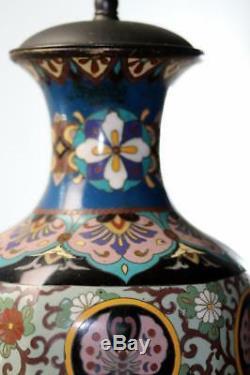 Large Antique Japanese Meiji Cloisonne Vase Lamp