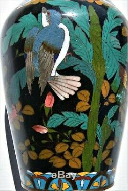 Large Antique Meiji Period Cloisonne Vase With Swallow & Flowers