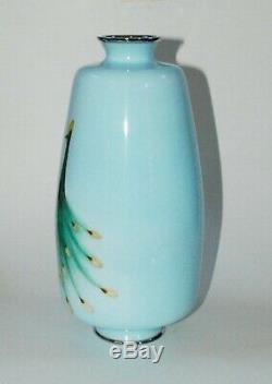 Large & Impressive Japanese Cloisonne Enamel Vase of 3 Peacocks by Tamura PIB