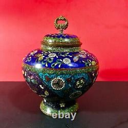 Large Japanese Meiji Period Cloisonne Jar With Lidde