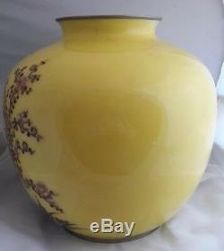 Large Japanese Meiji Silver Wire & Wireless Cloisonne Vase
