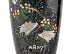 Large Japanese Nagoya Silver Wire Pair Cloisonné Crane Vases