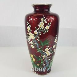 Large Japanese Sato Style Cloisonne Vase 11 High Pigeon Blood Cherry Blossom