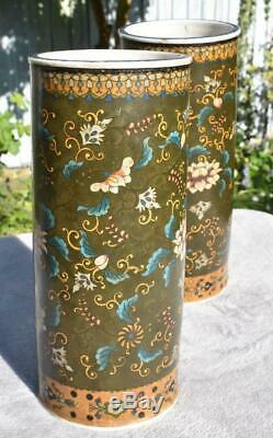 Large Mirror Pair Antique Japanese 19thC Meiji Totai Shippo Vases Signed