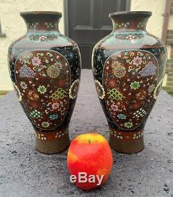Large Mirror Pair Japanese Cloisonne Vases Meiji VGC Goldstone 23.5cm Nice