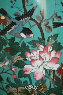 Large Pr of Antique Japanese cloisonne vases decorated with birds & butterflies