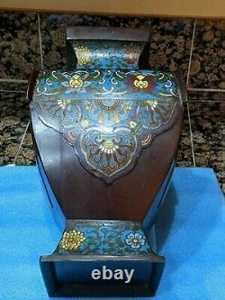 Large Rare Antique 19th Century Chinese Bronze Cloisonne Vase, c 1880