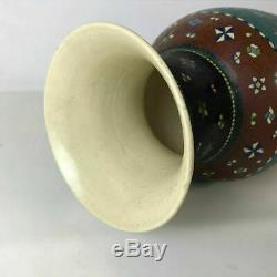 Large Scarce Meiji Silver Wired Japanese Totai Cloisonne Satsuma Pottery Vase