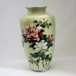Light yellow Ando Cloisonne silver wired Rose design with Paulownia box