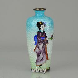 Lovely 19c Antique Meiji Period Japanese Ginbari Bronze Cloisonne Vase
