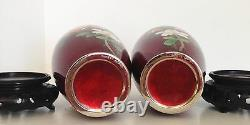 Lovely 5 PAIR Japanese Red Pigeon Blood Ginbari Cloisonne Vases Stands Marked