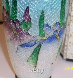 Lovely Antique Japanese Cloisonne Enamel Silver Ginbari 6 Vase Iris Snd Kumeno