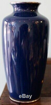 Lovely Antique Japanese Cloisonné Vase Perfect Blossoms Silver Rims