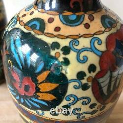 Lovely Pair Tall Japanese Meiji Cloisonne Dragon Vases