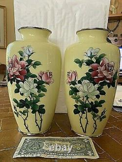 MIRRORED PAIR Extraordinary 9.5 Japanese Silver Wire Cloisonne Vases