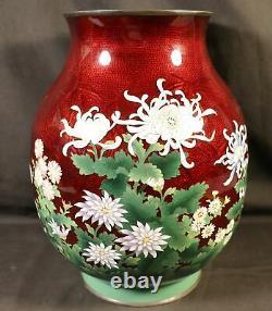 MONUMENTAL Japanese FLOWER STERLING SILVER Cloisonne Flower Vase hallmarked ANDO